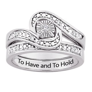 Sterling Silver Diamond Accent 'To Have and To Hold' 2-piece Ring Set