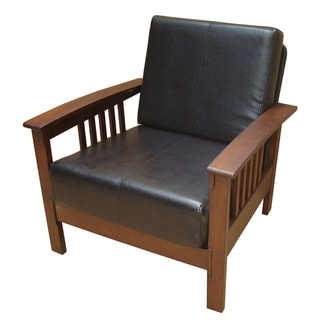 Mission Brown Leatherette Upholstered Chair