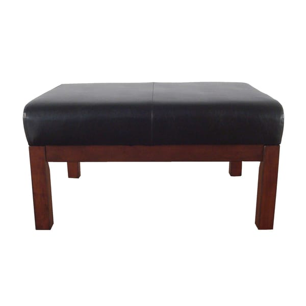 Mission Upholstered Brown Leatherette Ottoman
