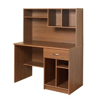 akadaHOME Walnut Computer Desk with Hutch