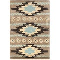 Dick Idol Hand-tufted Grey/Blue Southwestern Aztec Ranenna Wool Rug (2' x 3')
