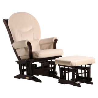 Dutailier Ultramotion Espresso/ Light Beige Multiposition Reclining Sleigh Glider and Nursing Ottoman Set