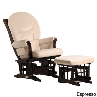 Dutailier Ultramotion Light Beige Multiposition Reclining Sleigh Glider and Nursing Ottoman Set