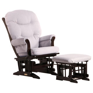 Dutailier Ultramotion Espresso/ Light Grey Multiposition Reclining Sleigh Glider and Nursing Ottoman Set