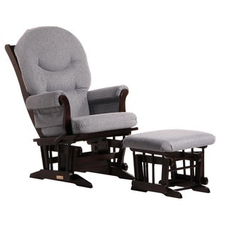 Dutailier Ultramotion Espresso/ Dark Grey Multiposition Reclining Sleigh Glider and Nursing Ottoman Set
