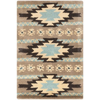 Dick Idol Hand-tufted Grey/Blue Southwestern Aztec Ranenna Wool Rug (8' x 11')