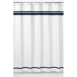 White and Navy Hotel Shower Curtain