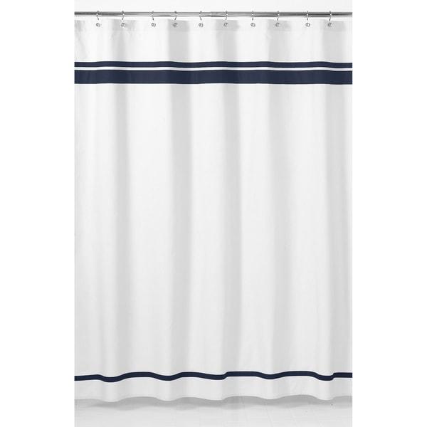 Sweet Jojo Designs White and Navy Hotel Shower Curtain