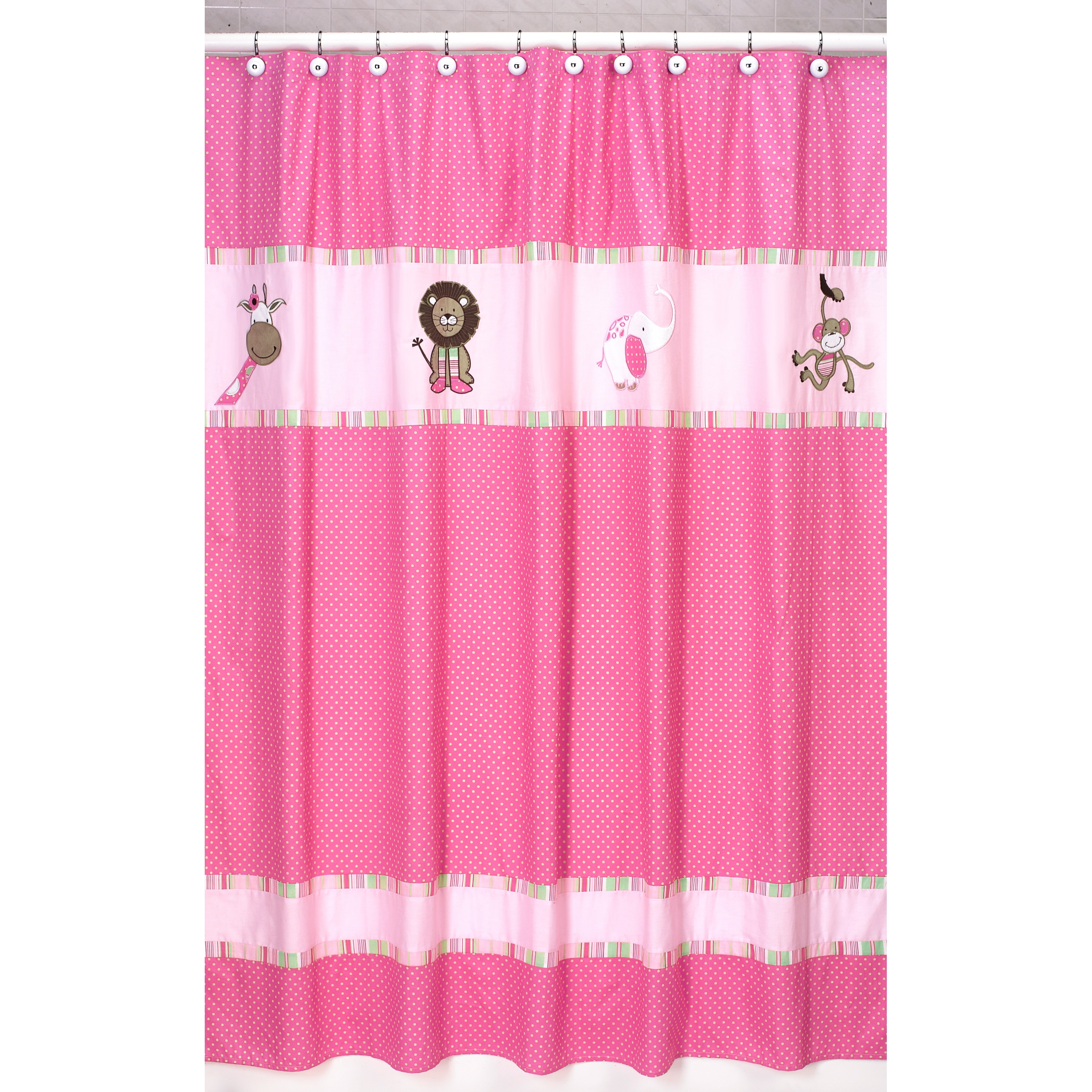 Sweet Jojo Designs Pink and Green Jungle Friends Kids Shower Curtain at Sears.com