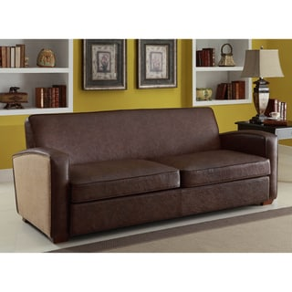 Antique Brown Sofa with Natural Jute and Accent Nails