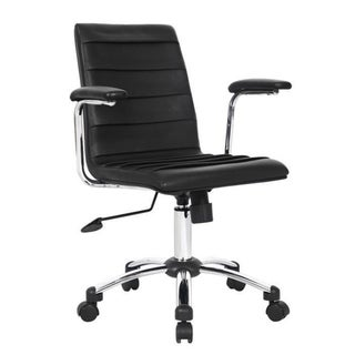 Black Faux Leather Pleated Office Chair