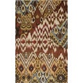 Hand-tufted Viper Dark Brown Ikat Wool Rug (5' x 8')
