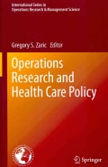 Operations Research and Health Care Policy (Hardcover)