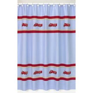 Sweet Jojo Designs Frankie's Firetruck Kids Shower Curtain