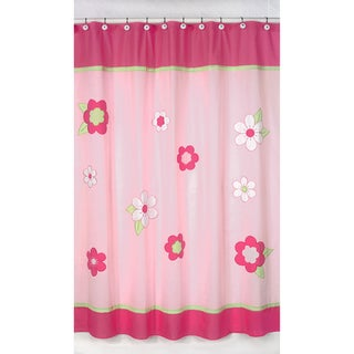 Pink and Green Flower Kids Shower Curtain