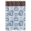 Blue and Brown Geo Shower Curtain