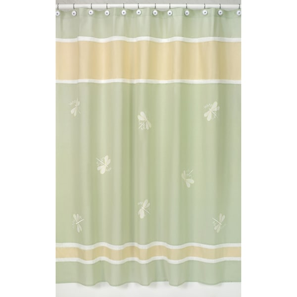 Sweet Jojo Designs Green Dragonfly Dreams Shower Curtain