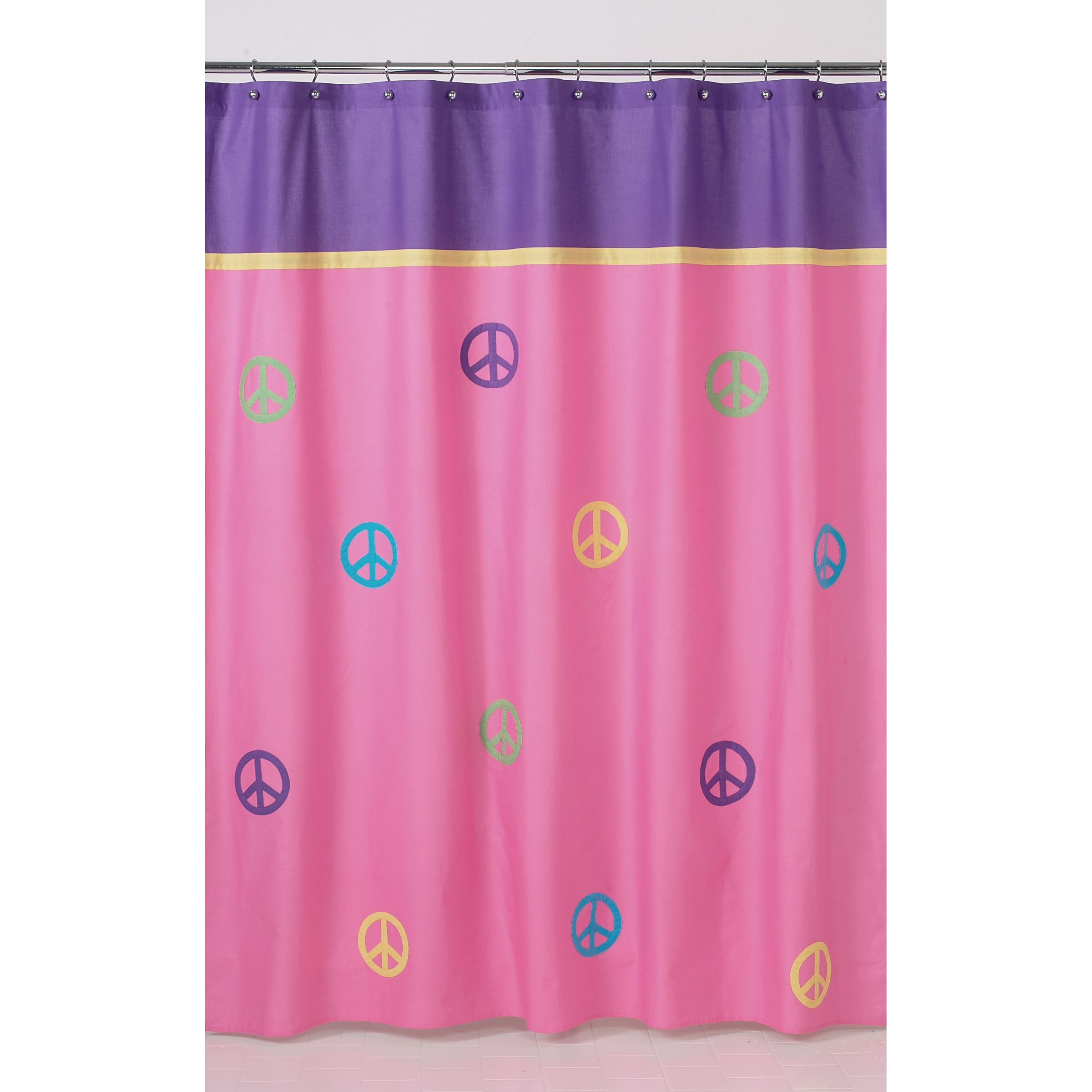 Sweet Jojo Designs Purple Groovy Peace Sign Kids Shower Curtain at Sears.com