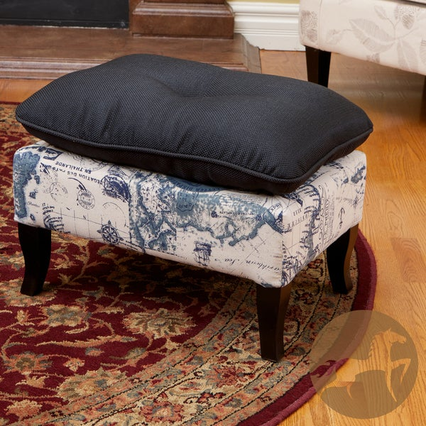 Christopher Knight Home Loma Black and Navy Print Fabric Ottoman
