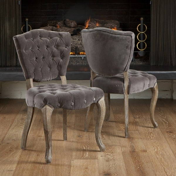 christopher knight home bates tufted grey fabric dining chairs set of