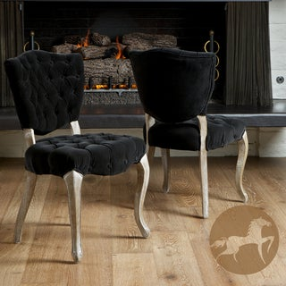 Christopher Knight Home Bates Tufted Black Fabric Dining