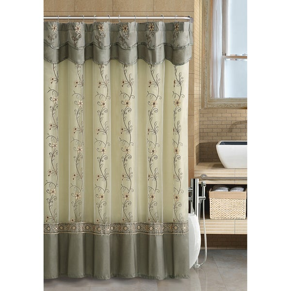 VCNY Daphne Sage Shower Curtain