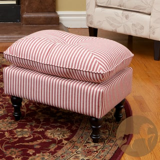 Christopher Knight Home Marilyn Tufted Red Stripe Fabric Ottoman