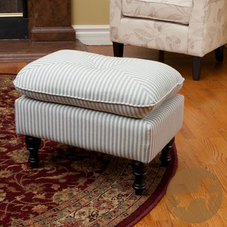 Christopher Knight Home Marilyn Tufted Teal Stripe Fabric Ottoman