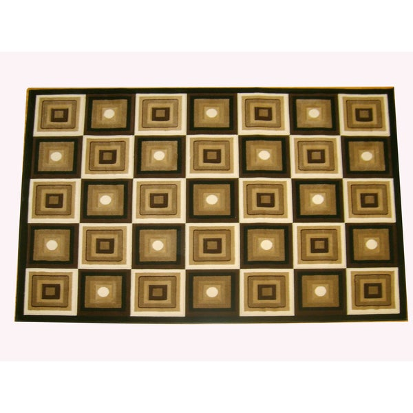 Generations Black Abstract Squares Rug (5'2x7'2)