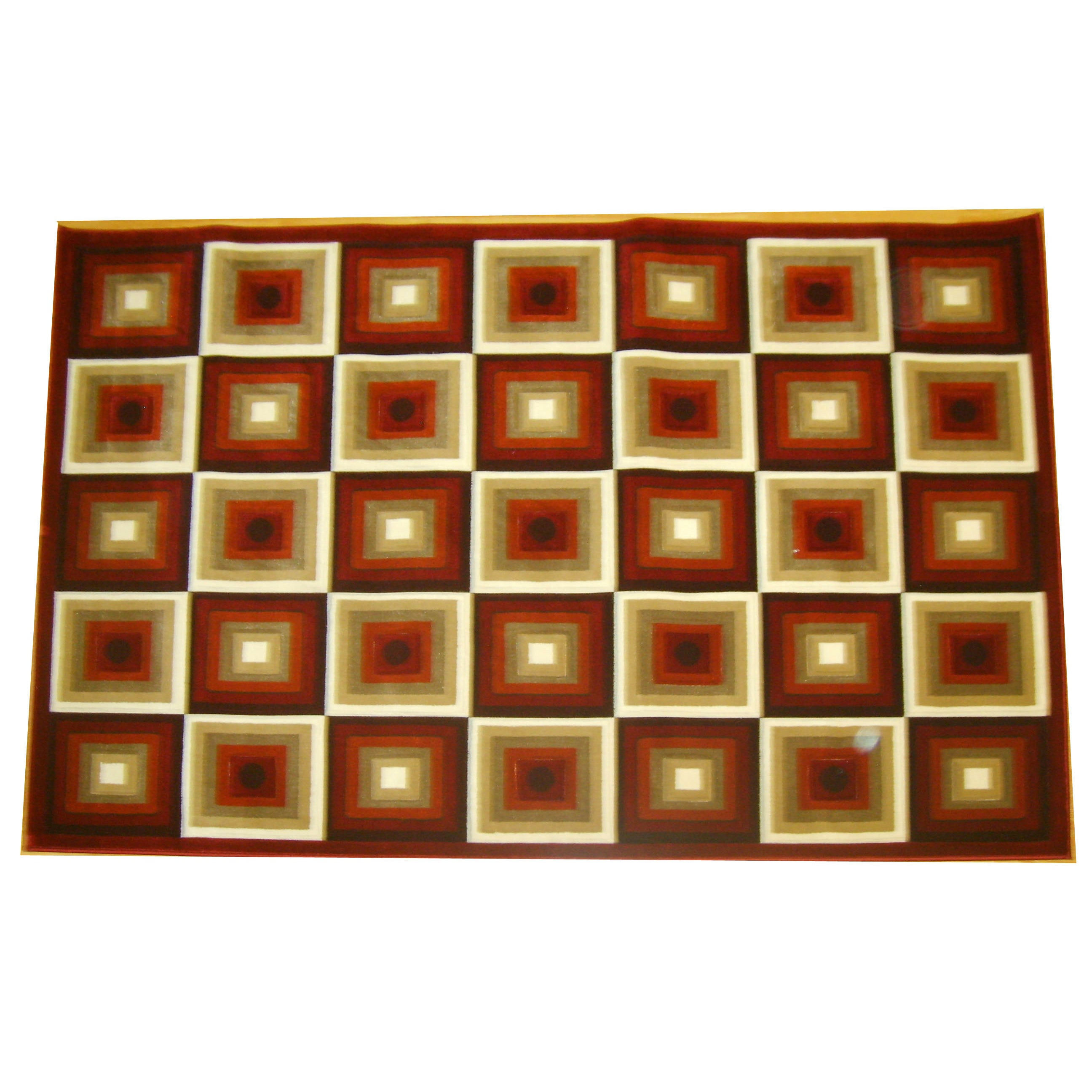 Overstock.com Generations Red Abstract Squares Rug (5'2 x 7'2) at Sears.com