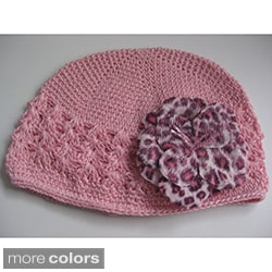 Bobitty Boo Dominique Crochet Kufi Hat with Faux Fur Animal Flowers