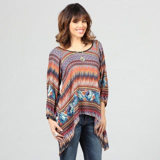 Lola P Women's Challis Print 3/4-sleeve Top