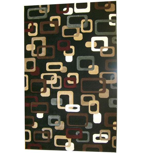 Generations Black Abstract Circuit Rug (3'9 x 5'1)