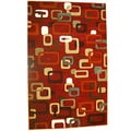 Generations Red Abstract Circuit Rug (5'2 x 7'2)
