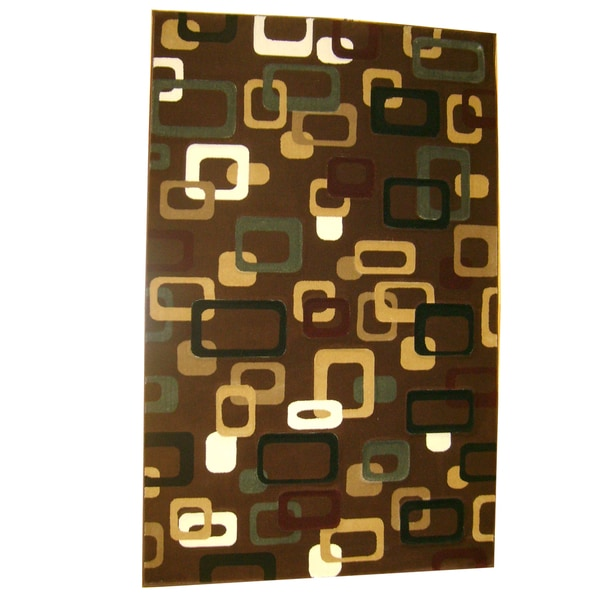 Generations Chocolate Abstract Circuit Rug (3'9 x 5'1)