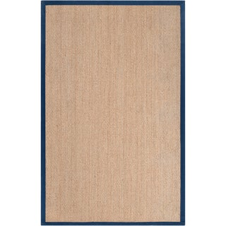 Hand-woven Bergamo Natural Natural Fiber Seagrass Cotton Border Rug (5' x 8')