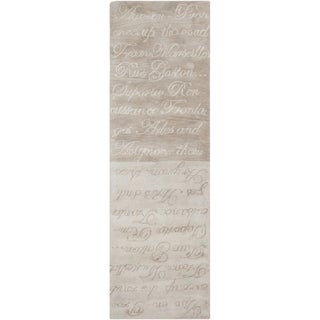 Hand-tufted Stella Smith Misty Grey Novelty Wool Rug (2'6 x 8')
