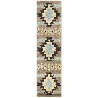Dick Idol Hand-tufted Southwestern Aztec Ranenna Wool Runner Rug (2'6 x 8')