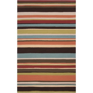 Hand-hooked Parmal Multi Indoor/Outdoor Stripe Rug (2' x 3')