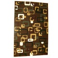 Generations Chocolate Abstract Circuit Rug (5'2 x 7'2)