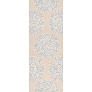 Angelo Surmelis Hand-tufted Turin Ivory Rug (2'6 x 8')