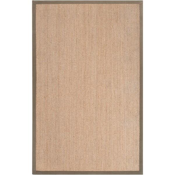 Hand-woven Trental Tan Natural Fiber Seagrass Cotton Border Rug (5' x 8')