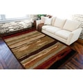 Meticulously Woven Barletta Tan Shag Abstract Stripe Rug (5'3 x 7'3)
