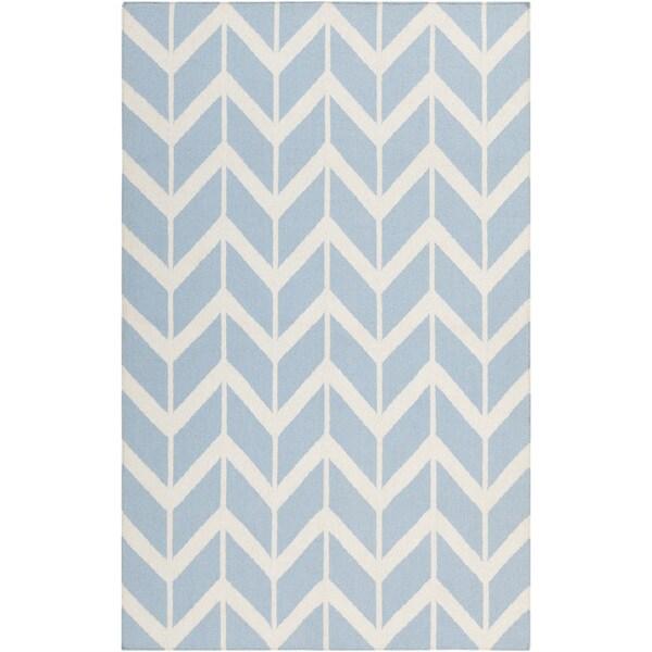 Jill Rosenwald Hand-woven Tamaki Light Blue Wool Rug (8' x 11')
