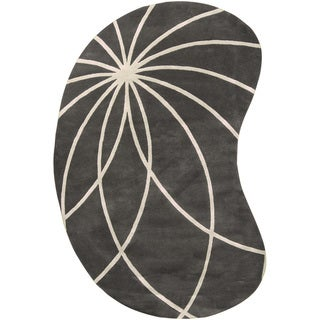 Hand-tufted Rotura Charcoal Floral Wool Rug (6' x 9')