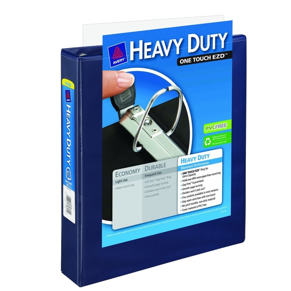 Avery 1-1/2-inch Capacity, Navy Blue Framed View Binder With One Touch Locking EZD Rings (Pack Of 12)