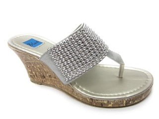 Blue Women's Silver 'Joey' Wedge Heel Sandals
