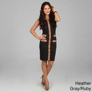 Amelia Women's Color Combo Button Down Ponte Dress