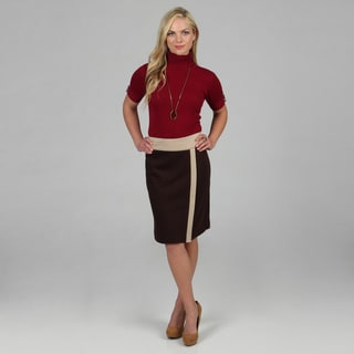 Amelia Women's Espresso Color Combo Ponte Skirt