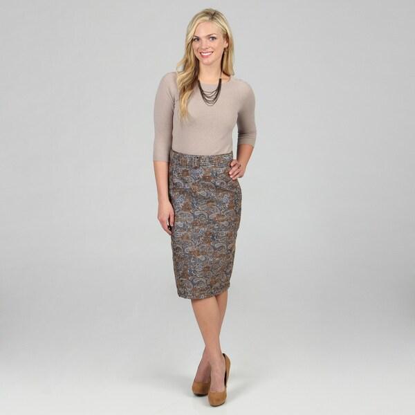 Amelia Women's Blue Metallic Boucle Pencil Skirt